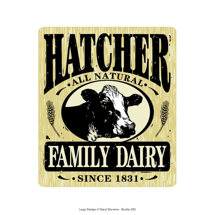 Hatcher Family Dairy logo design